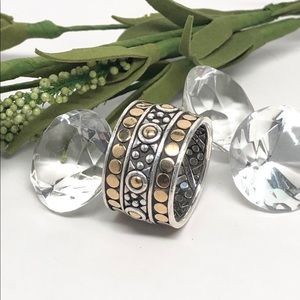 John Hardy Gold Dot Wide Band 925 Jaisalmer Ring